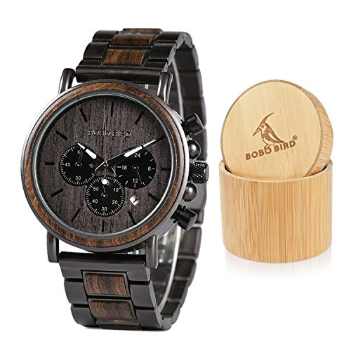 n Watches Business Casual Wristwatches Stylish Ebony Wood & Stainless Steel Combined Chronograph with Gift Box (Grey) ()