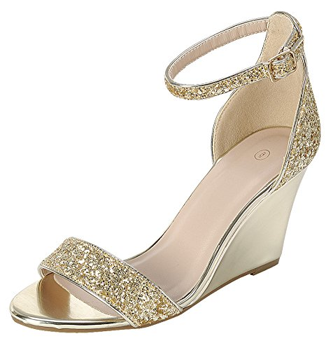 Cambridge Select Women's Open Toe Single Band Buckle Ankle Strappy Glitter Dress Wedge Sandal (7 B(M) US, Gold)