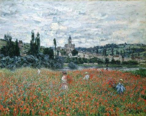 Oil Painting 'Poppy Field Near Vetheuil, 1879 By Claude Monet', 24 x 30 inch / 61 x 77 cm , on High Definition HD canvas prints is for Gifts And Bar, Basement And Bath Room Decoration (Tapestry Uk Led Christmas)