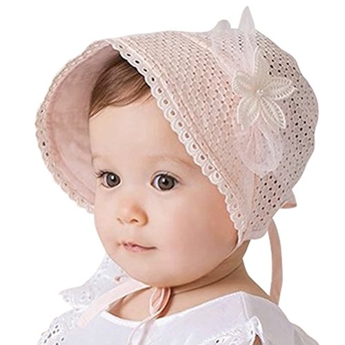 Pink Baby Bonnet - Little Kids Toddlers Classic Breathable Sun Protection Hat with Eyelet Lace Trimmed