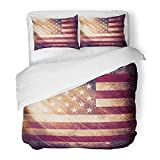 Emvency 3 Piece Duvet Cover Set Brushed Microfiber Fabric Breathable Blue Patriotic Grunge USA Flag Red American Rustic America Antique Culture Bedding Set with 2 Pillow Covers Twin Size