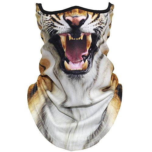 Tiger Scarf - AXBXCX Animal 3D Neck Warmer Face Mask Scarf Windproof Dust UV Sun Protection for Skiing Snowboarding Snowmobile Halloween Cosplay Ferocious Tiger