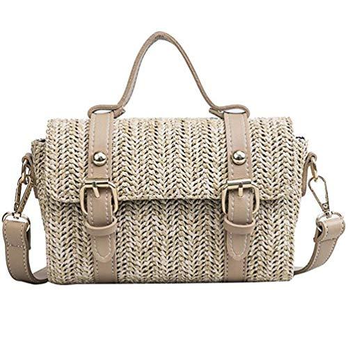 Khaki Messnger Bag Braided Handbags Retro Crossbody Solid Bags Beach Retro Women Rattan Shoulder t7q6wW