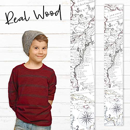 Growth Chart Art | Wooden Map Growth Chart for Kids [Boys and Girls] - Children's Room Décor Height Chart | East Coast Map White (Autumn Chart)
