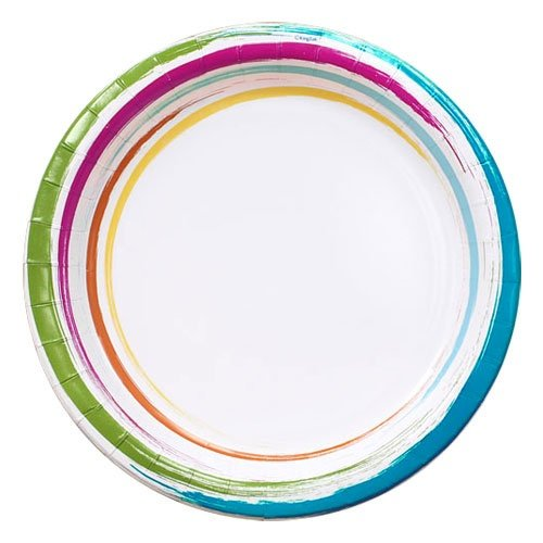 Nicole Home Collection 48 Count Dinnerware Paper Plate, 8-5/8-Inch, Brushstrokes ()
