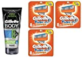 Gillette Body Non Foaming Shave Gel for Men, 5.9 Fl Oz + Fusion Power Refill Blades 8 Ct (3 Pack) + FREE Luxury Luffa Loofah Bath Sponge On A Rope, Color May Vary