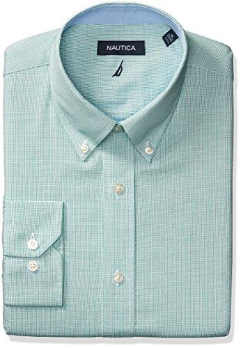 Check Mini Dress (Nautica Men's Mini Check Buttondown Collar Dress Shirt, Green/White, 16
