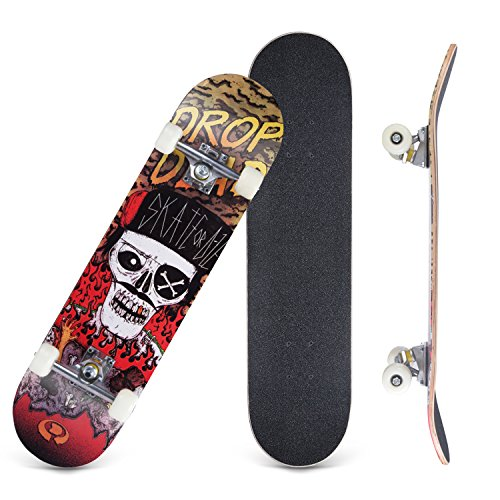 "CCTRO Skateboards 31"" Pro Skateboard Complete, 8 Layer Maple Skateboard Deck for Extreme Sports and Outdoors, Tricks Skate Board for Beginners and Pro"