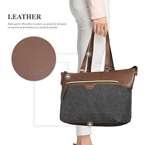 Ladies Laptop Tote Bag 15.6 inch Canvas Leather Stylish Multi Pocket Travel Business Casual Shopping Shoulder Bag Carrying Briefcase Handbag for Women 13 14 15 Laptop Notebook MacBook Computer Black