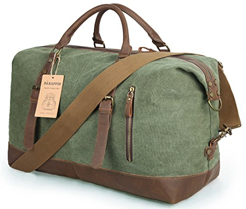 Oversized Travel Duffel Bag Canvas Leather Trim Overnight Bag Weekend Bag for Men and Women by Paraffin (Image #6)