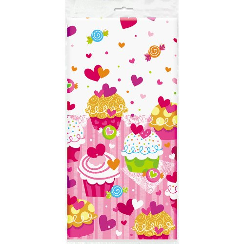 Cupcake Hearts Plastic Tablecloth, 84