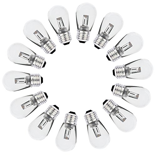 SUNTHIN (15 Pack) LED S14 Replacement Bulbs, E26 Medium Base, Warm White 2700K 0.9W LED Lights Bulb, 6 Watt Incandescent Bulbs Equivalent