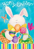 """"""" Bunny Stripes - Happy Easter """" - Double Sided STANDARD Size Decorative Flag 28 X 40 Inches"""