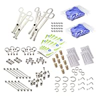 LionGothic 160pc. professional piercing kit Surgical Steel Jewelry,Piercing Corks,needles,Gloves,Disposable Tools & Alcohol Pads