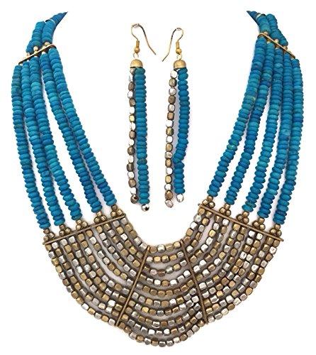Aqua Blue Multi Row Blue Dyed Wood Beaded Bohemian Look 2 Tone Necklace Earrings Set