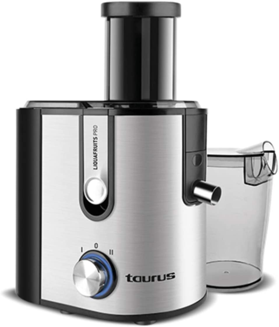 Taurus 924.720 Liquafruits PRO-Licuadora (800 W, 2 velocidades, sistema antigoteo, filtro extraible de acero inoxidable), gris, 1.1 litros, 0 Decibelios, Plateado/Negro