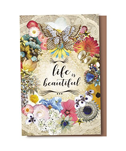 Tree-Free Greetings EcoNotes 12-Count Life is Beautiful Butterfly Floral Blank Notecard Set With Envelopes, All Occasion, Inspirational (FS56958)