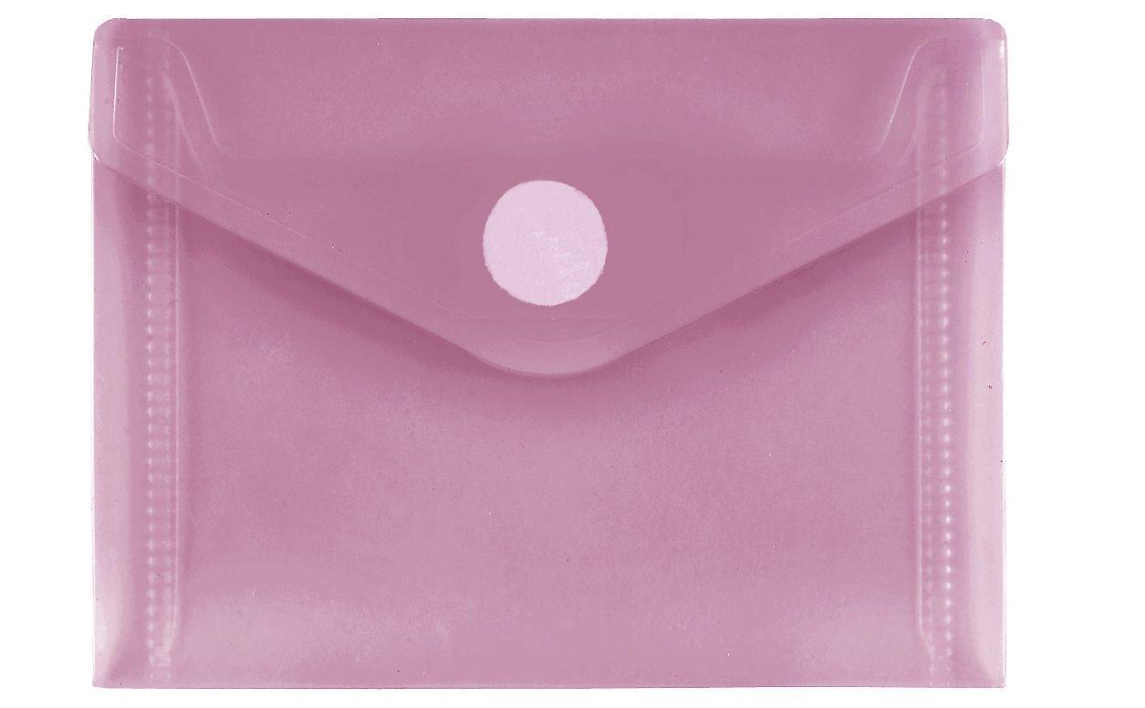 con chiusura in velcro Busta trasparente in PP FolderSys 10 pezzi formato A7 orizzontale rosso