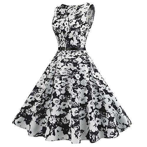 Col Rond Vintage Femmes Charmma Manches Robe À Fleurs Swing Imprimé Avec Ceinture Blanche
