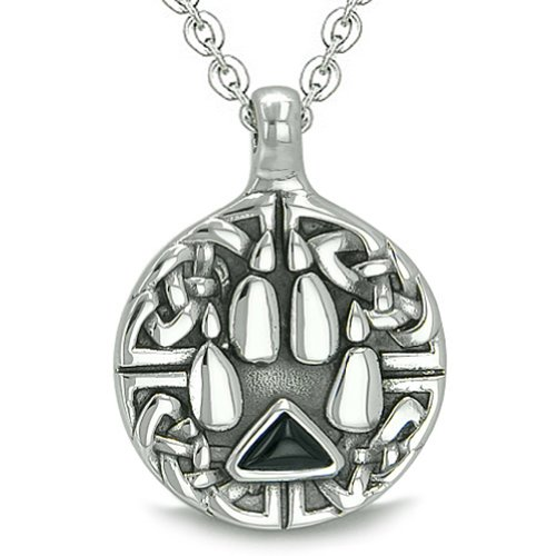 Onyx Triangle Pendant - Celtic Shield Knot Wolf Paw Triangle Energy Simulated Black Onyx Crystal Pendant 22 Inch Necklace