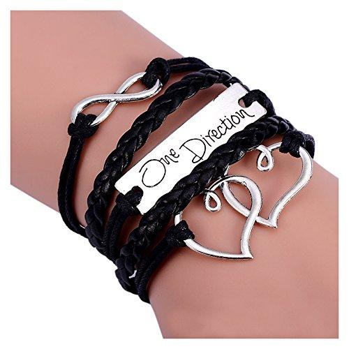 Bracelet - SODIAL(R)Bracelet mode double coeurs d'amour One Direction bracelet avec charme montre l'Amitie en cuir 17,5 + 4,5cm Noir