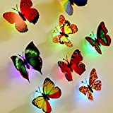 Wanrane 6PCS 3D DIY LED Butterfly,Kids Bedroom Fairy Flashing 3D Butterfly Wall Stickers Decorative Night Lights Random