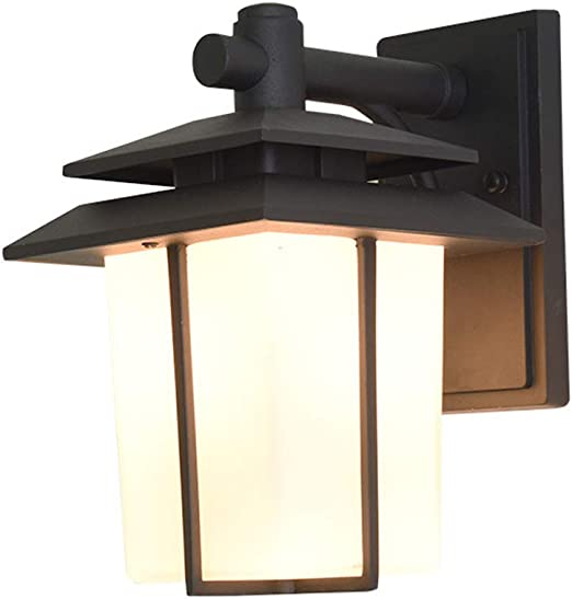Linterna de pared Exterior Vintage lámpara de pared jardín, Aplique de aluminio impermeable IP65, Pantalla de cristal - Hierro forjado metal negro Portalámparas E27 - Bombilla LED 10W (luz cálida): Amazon.es: Iluminación