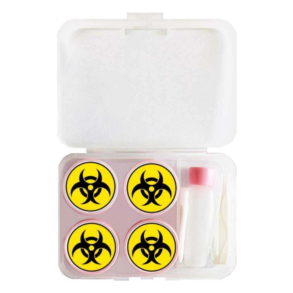 Danger Chemical Toxic Radiation Symbol Contact Lens Case Bulk Tweezers Container Holder