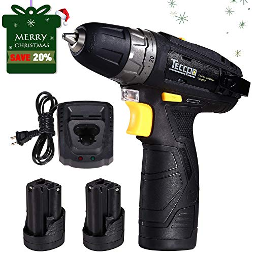 Merry Christmas Cordless Drill Driver Sets, TECCPO Compact Drill Lightweight with 2X 2.0Ah Batteries, Fast Charger, 265In-lbs Torque, 20+1 Torque Setting, 3/8″ Chuck, 29pcs Accessories – TDCD01P