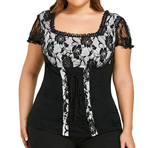 - Sunhusing Ladies Cutout Lace Flower Stitching Short Sleeve T-Shirt Drawstring Cross Strappy Lace-Up Blouse Top White