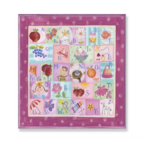 The Kids Room by Stupell Purple and Pink Alphabet Square Wall Plaque