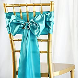 BalsaCircle 50 Turquoise Satin Chair Sashes Bows Ties for Wedding Party Ceremony Reception Event Decorations Supplies Cheap