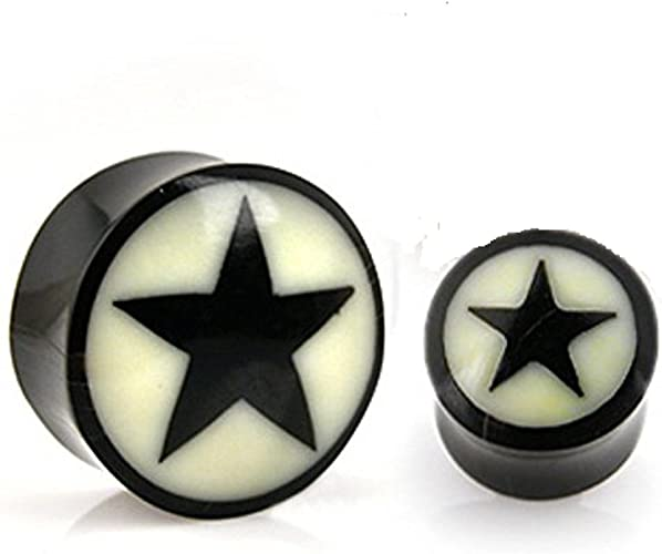 Ear Plugs Pair of Natural Horn /& Real Buffalo Bone Star Saddle Ear Plugs Ear Stretchers