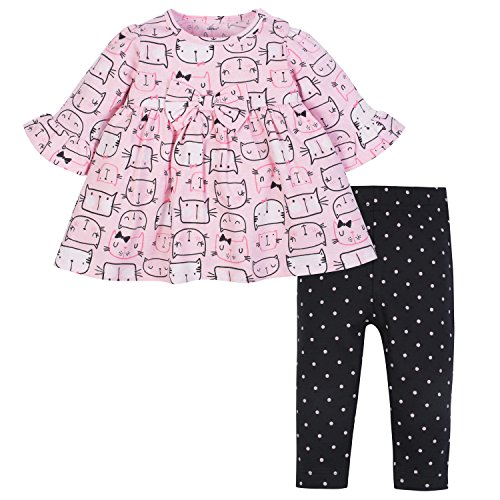 Gerber Baby Girls' Dress and Legging Set, Kitty Heads, 6-9 Months