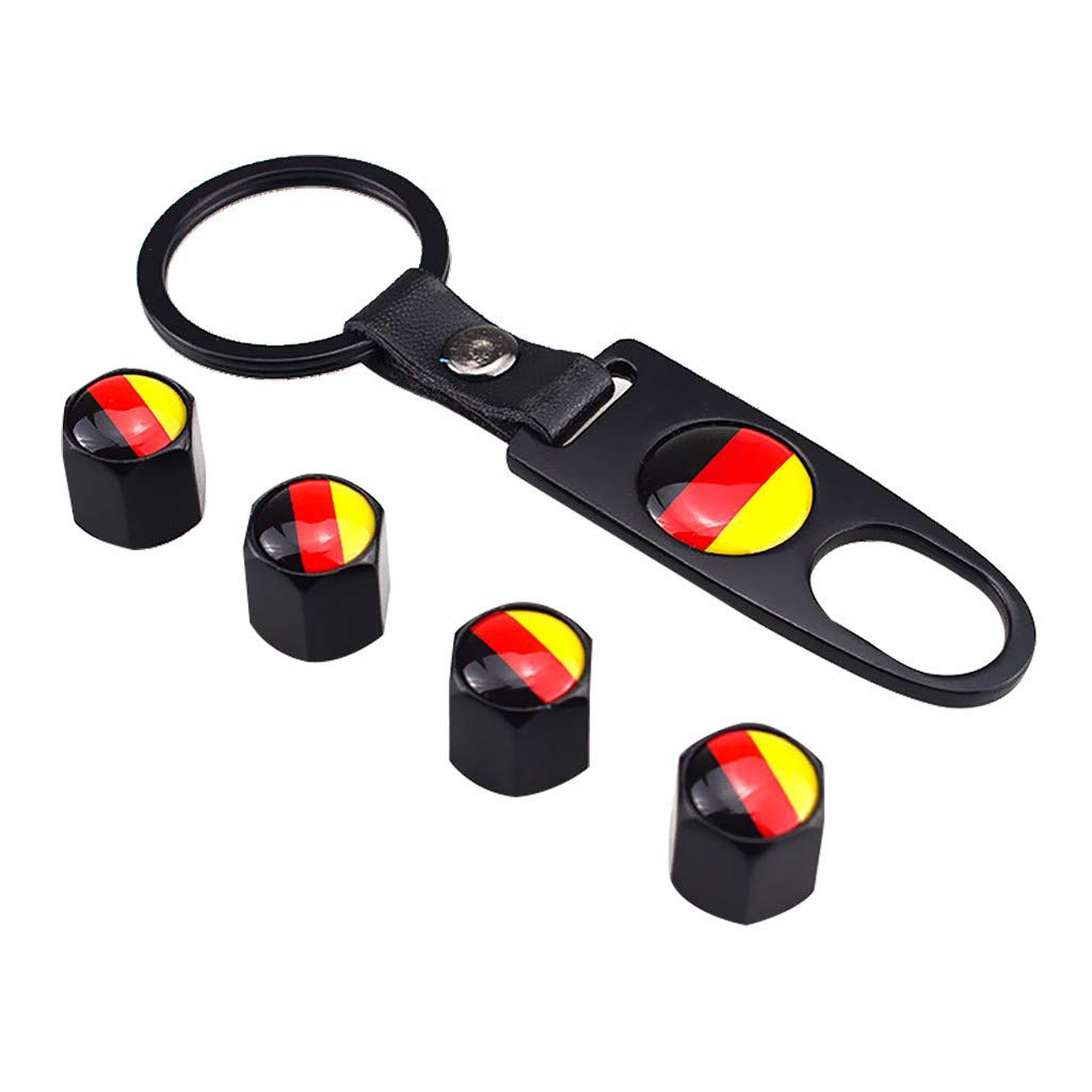 Black, German KAKAT Valve Stem Caps 4 Pack Handmade Universal Tire Valve Dust Caps National Flag Car Accessories with 1 Piece Ring Sticker Key and Knobs