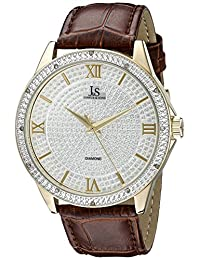 Joshua & Sons Men's JS-19-YGBR Round Silver Crystal Pave Dial Three Hand Quartz Movement Gold Tone Strap Watch