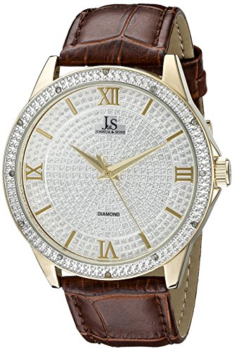 Joshua & Sons Men's JS-19-YGBR Yellow Gold Crystal Pave Dial Quartz Watch With Brown Embossed Leather (Case Pave Diamond Dial)