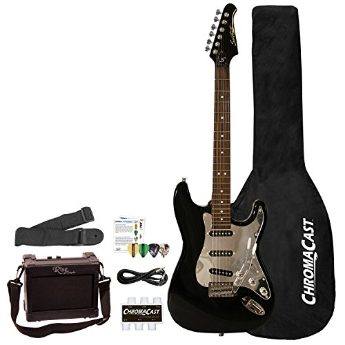 Sawtooth 6 String Right Handed Electric Guitar with Pickguard, Black/Chrome (ST-ES-BKC-BEG-KIT)