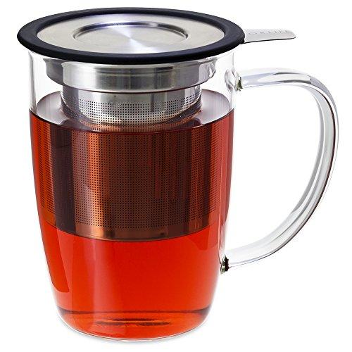 FORLIFE NewLeaf Glass Tea 16-Ounce Mug with Infuser and Lid, Black