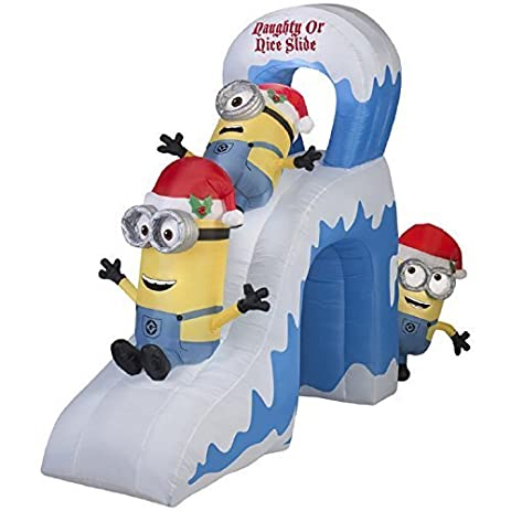 christmas inflatable 10 minions naughty or nice slide with kevinstuart bob by - Minion Christmas Inflatable