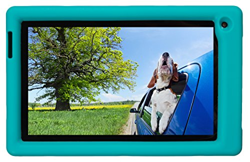 Bobj Rugged Case for RCA Voyager III and Voyager II 7-inch - BobjGear Custom Fit - Patented Venting - Sound Amplification - BobjBounces Kid Friendly (Terrific Turquoise) (Cases Kids Rca Tablet 7inch For)