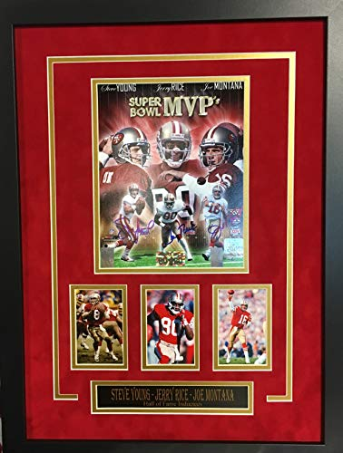 Joe Montana Jerry Rice Steve Young San Francisco 49ers Triple Signed Autograph Custom Framed Suede Matted Photo GTSM Certified from Mister Mancave