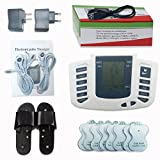 TENS Handheld Electronic Pulse Massager Unit, Pain Relief therapy Device 8 Level Intensity 4 Modes × 16 Electrode Pads with Therapy Slipper - a portable Full Body Relax Muscle Stimulator for Electrotherapy Pain Management Foot Massager