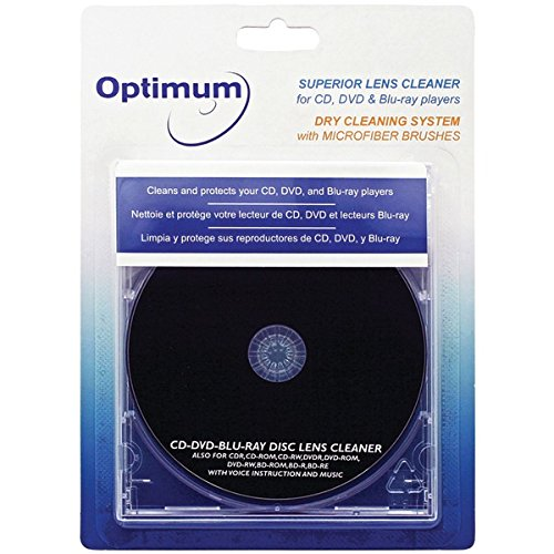 Disc Cleaning Player Cd (Optimum Superior Lens Cleaner (OPTCDDVDLC) For CD, DVD and Blu-ray Players with Microfiber Brush Cleaning System)