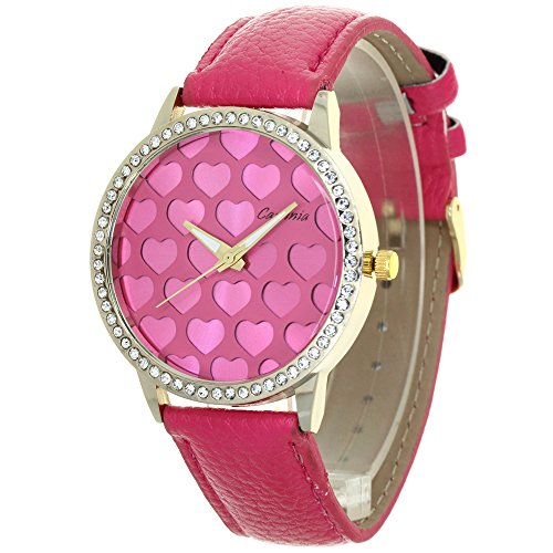 TimeMax Lovers Heart Carves Dial Design Womens Watches Rhinestone Mounted Case Convex Prism Crysal Japan Quartz Analog Fashion Stylish Casual Dress Wristwatch Girls Valentines Gifts
