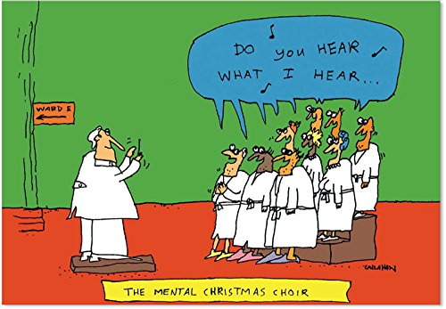 B1504 Box Set of 12 Mental Choir Funny Christmas Paper Cards with Envelopes