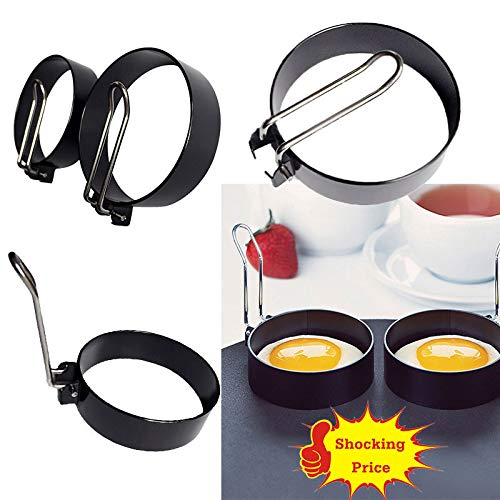 ️ Yu2d ❤️❤️ ️2 PCS Nonstick Stainless Steel Handle Round Egg Rings Shaper Pancakes Molds -