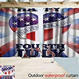 Zmacdk Home Patio Outdoor Curtain 4th of July Colorful Celebration of Independence of United States Summer Season Holiday Great for Living Rooms & Bedrooms W63 x L45 Multicolor