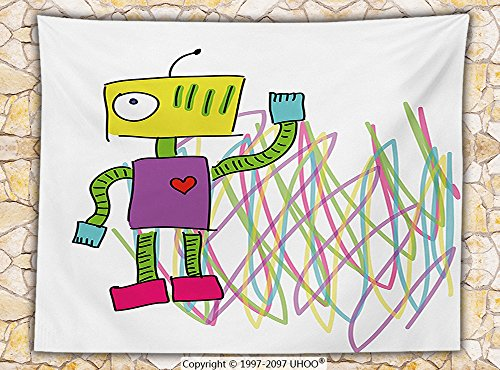 Psychedelic Decor Fleece Throw Blanket Robot with &quotLets Dance