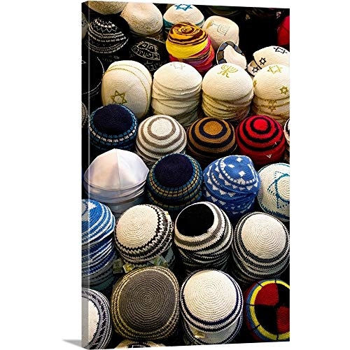 GREATBIGCANVAS Gallery-Wrapped Canvas Entitled Yarmulkes for Sale at a Market stall, Jerusalem, Israel by 40